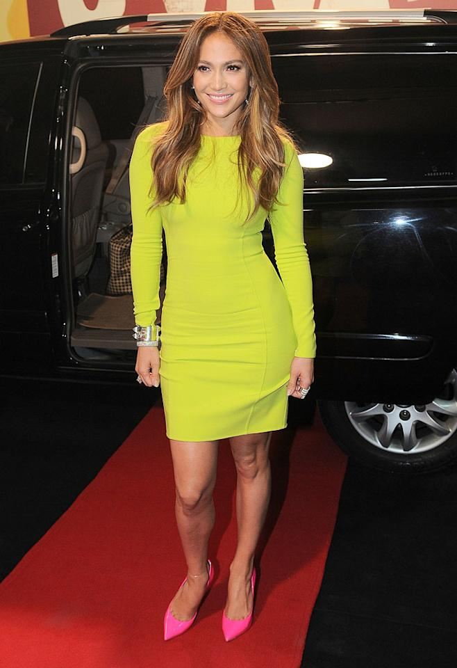 "<a target=""_blank"" href=""http://omg.yahoo.com/blogs/runway/spring-neon-trend-203122519.html"">Neon</a> has been all the rage since last fall, and it doesn't seem like the trend will be slowing down any time soon, thanks to stylish stars like <a target=""_blank"" href=""http://omg.yahoo.com/jennifer-lopez/"">Jennifer Lopez</a> who adore bold looks. Speaking of J.Lo, the multi-talented mom-of-two did her part to keep the fad in fashion by donning a highlighter-hued Michael Kors frock and bright pink pumps for a recent appearance on a Brazilian talk show. What do you make of the former Fly Girl's getup? Luminous or lackluster? (3/26/2012)<br><br><a target=""_blank"" href=""http://bit.ly/lifeontheMlist"">Follow 2 Hot 2 Handle creator, Matt Whitfield, on Twitter!</a>"