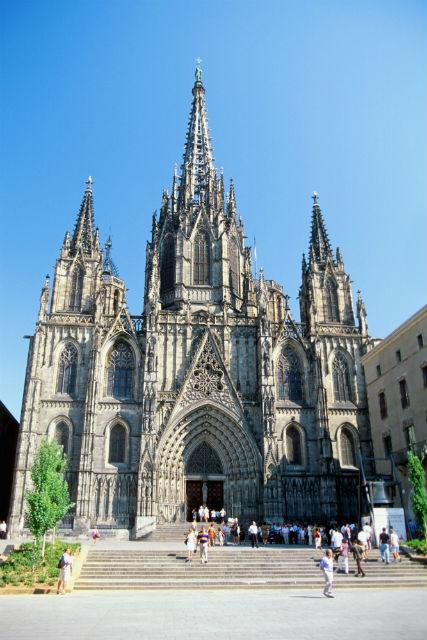 Low angle view of Barcelona Cathedral, Barcelona, Spain