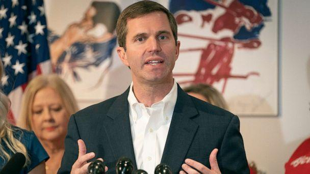 PHOTO: Kentucky democratic gubernatorial candidate and Attorney General Andy Beshear speaks to the media during a press conference at the Muhammad Ali Center, Nov. 6, 2019, in Louisville, Ky. (Bryan Woolston/AP)