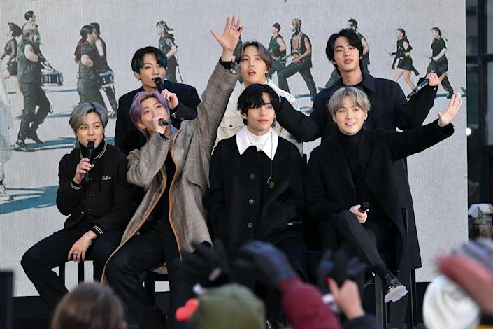 "<span class=""caption"">K-pop band BTS and their company, Big Hit, have donated money to Black Lives Matter. Most bands and companies in the industry have not made any sort of statements.</span> <span class=""attribution""><a class=""link rapid-noclick-resp"" href=""https://www.gettyimages.com/detail/news-photo/jimin-jungkook-rm-j-hope-v-jin-and-suga-of-the-k-pop-boy-news-photo/1207750198?adppopup=true"" rel=""nofollow noopener"" target=""_blank"" data-ylk=""slk:Dia Dipasupil/Getty Images"">Dia Dipasupil/Getty Images</a></span>"