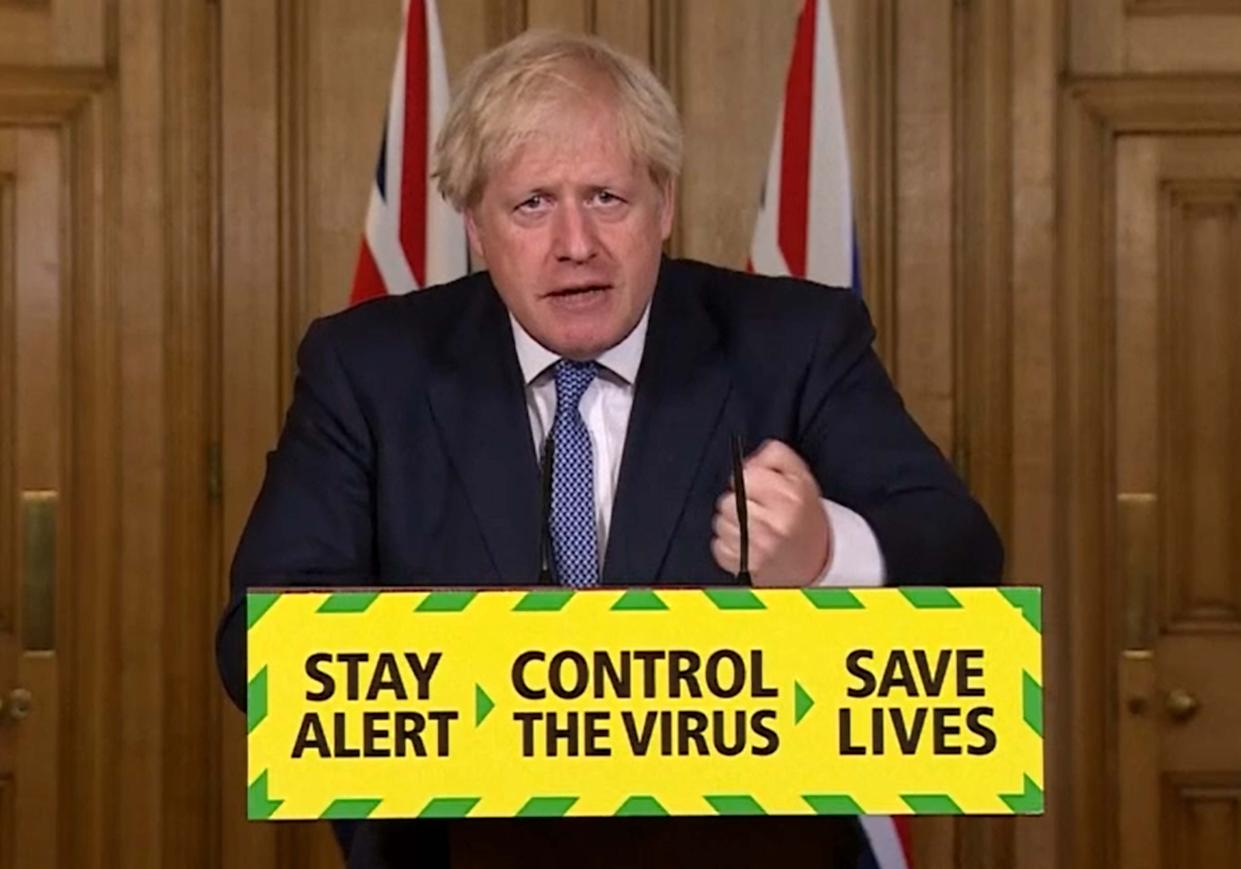 Prime Minister Boris Johnson speaking during a media briefing in Downing Street, London, on coronavirus (COVID-19). (Photo by PA Video/PA Images via Getty Images)