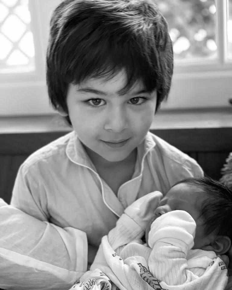 Taimur Ali Khan with his baby brother