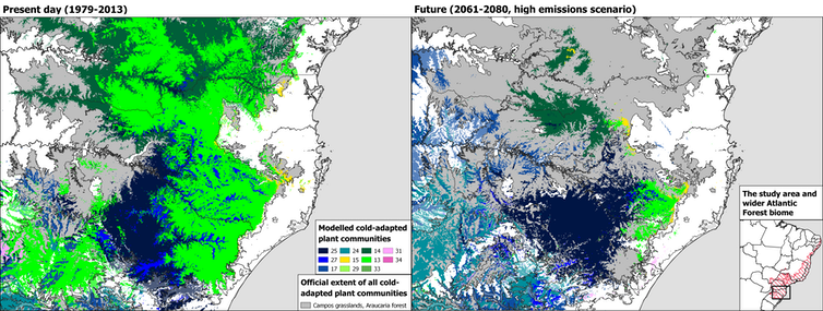 Two maps comparing the extent of plant communities adapted to cold weather in the present and in 50 years.