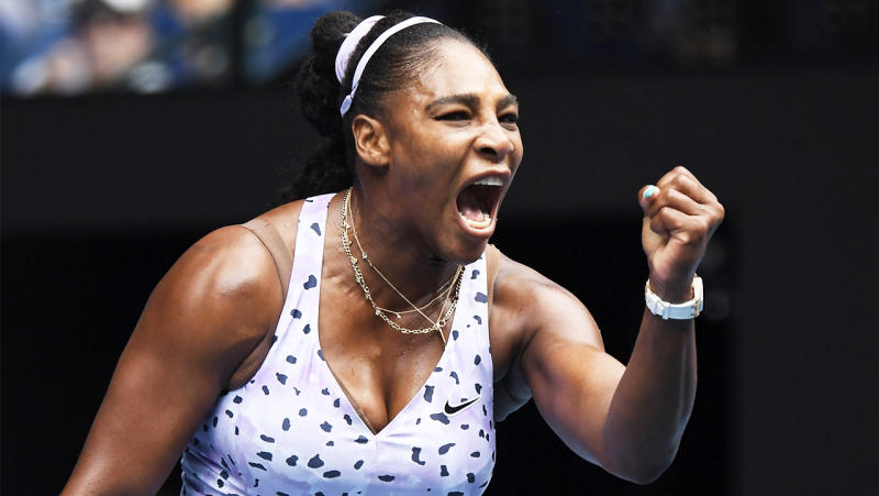 Serena Williams celebrate4s after winning a point at the US Open.