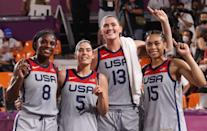 """<p>Biography: Stefanie Dolson is 29, Allisha Gray is 26, Kelsey Plum is 26 and Jackie Young is 23</p> <p>Event: Women's 3x3 basketball </p> <p>Quote: Dolson: """"It is incredible. Basketball runs deep in the U.S.A. and to pull this off and win gold is incredible.""""</p>"""
