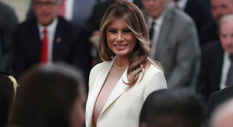 Melania Trump wears chic white suit in Washington [Photo: Getty]