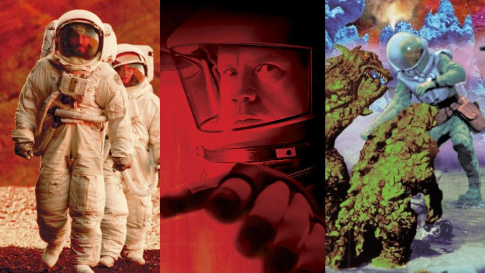'Stranded', 'Mission to Mars' and 'Voyage to the Prehistoric Planet'. (Credit: Universal/Disney/AIP-TV)