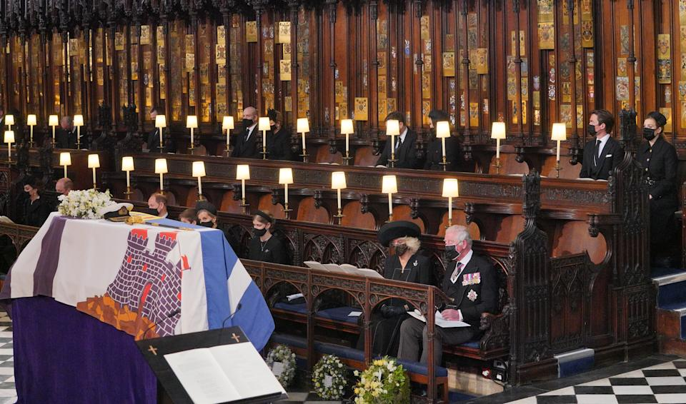 Mourners, including, front row, from left, the Duchess of Cambridge, the Duke of Cambridge, the Earl of Wessex, Viscount Severn, Lady Louise Mountbatten-Windsor, the Countess of Wessex, the Duchess of Cornwall during the Duke of Edinburgh's his funeral at St George's Chapel, Windsor Castle, Berkshire. Back row, from left: the Earl of Snowdon, Mr Peter Phillips, Mr Mike Tindall, Zara Tindall, Mr Jack Brooksbank, Princess Eugenie, Mr Edoardo Mapelli Mozzi and Princess Beatrice. Picture date: Saturday April 17, 2021.