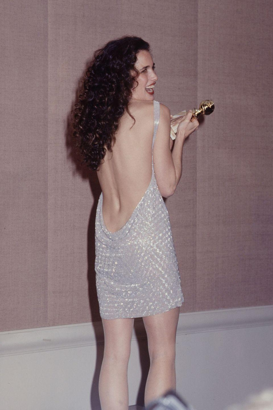 <p>It's not always about a down-to-there neckline, a backdress frock can be just as sexy as Macdowell proved in 1991.</p>