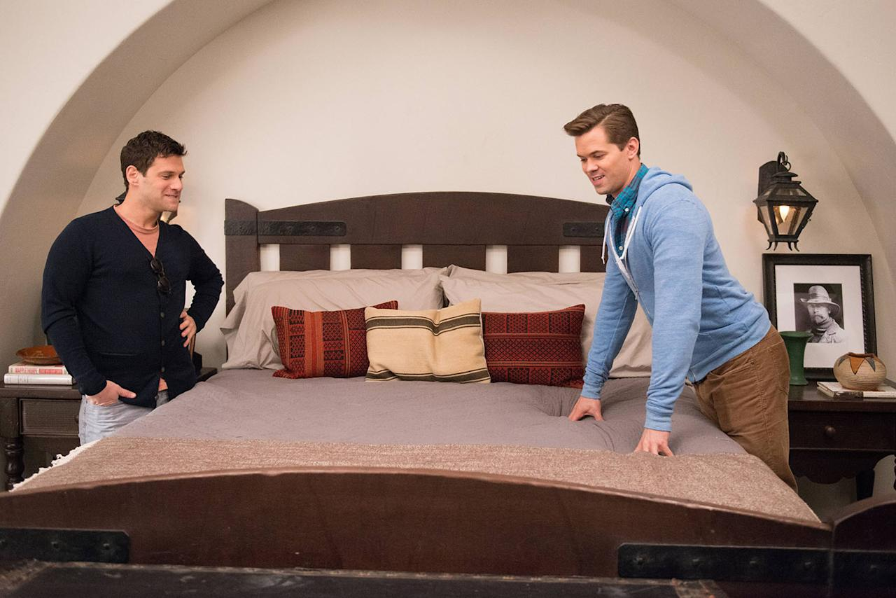 """Justin Bartha and Andrew Rannells on the set of """"The New Normal."""""""