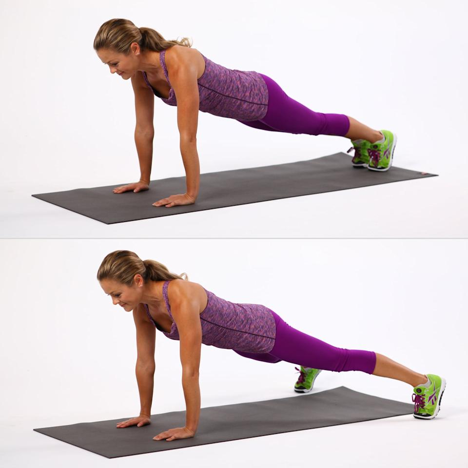 <ul> <li>Begin in plank position with your feet together. Keep your upper body stable and engage your abs. </li> <li>Begin doing jumping jacks with your legs. Hop them wide, then hop them together. Jump as quickly as you want.</li> <li>Continue for 25 seconds, keeping the belly pulled in tight.</li> </ul>