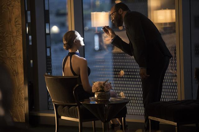 Dolores and Arnold (Jeffrey Wright) hit the town in 'Westworld' (Photo: HBO)