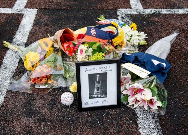 PHOTO: A makeshift memorial lies on home plate at the Orange Coast College baseball field in Costa Mesa, Calif., Jan. 26, 2020, for Orange Coast College baseball Coach Altobelli, his wife Keri and daughter Alyssa who were killed in the helicopter crash. (Leonard Ortiz/The Orange County Register via AP)