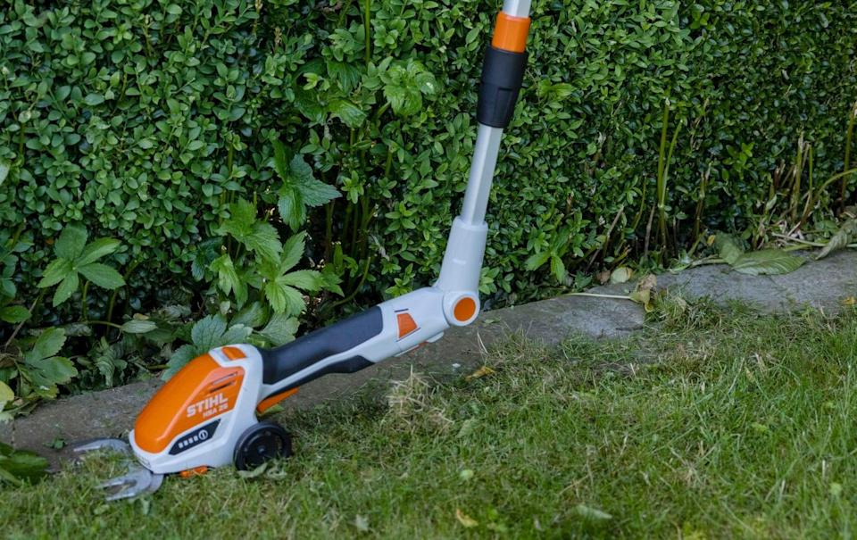 Guinness has been using a cordless trimmer to perk up old hedges and borders - Heathcliff O'Malley