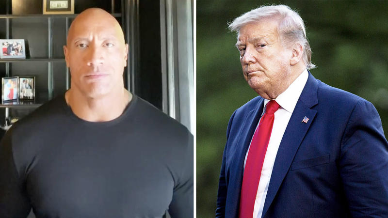 Dwayne 'The Rock' Johnson (pictured left) called out US President Donald Trump (pictured right) for a lack of leadership during the protests. (Getty Images)