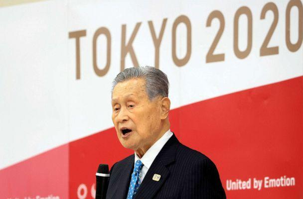 PHOTO: Olympics organizing committee president Yoshiro Mori announces his resignation at a meeting with council and executive board members at the committee headquarters in Tokyo on Feb. 12, 2021. (Yoshikazu Tsuno/AP)