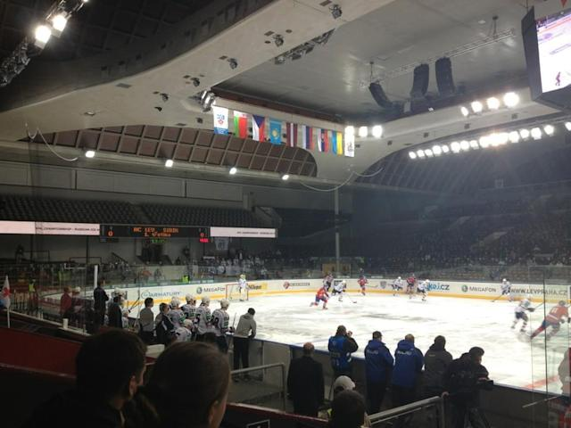 KHL game in Prague. (#NickInEurope)
