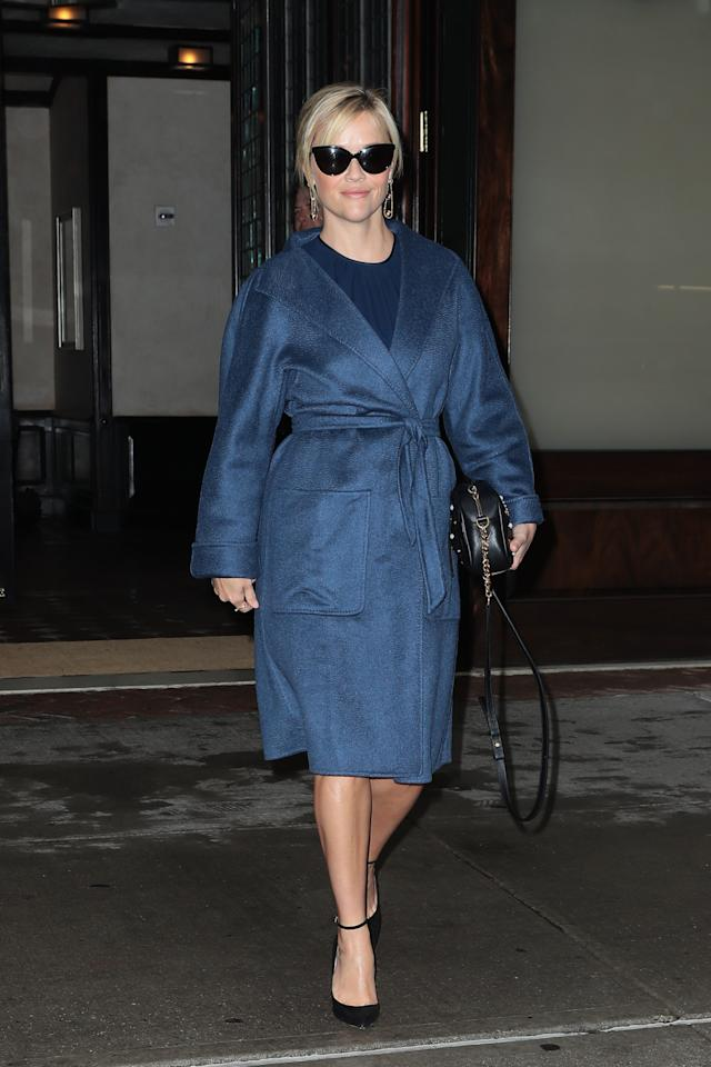 <p>Witherspoon wears the Max Mara Lilia coat in 2017. (Photo: Courtesy of Max Mara) </p>