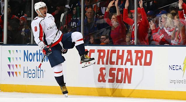 Alex Ovechkin of the Washington Capitals celebrates his first period goal against the New York Islanders at Nassau Coliseum. (Getty Images)