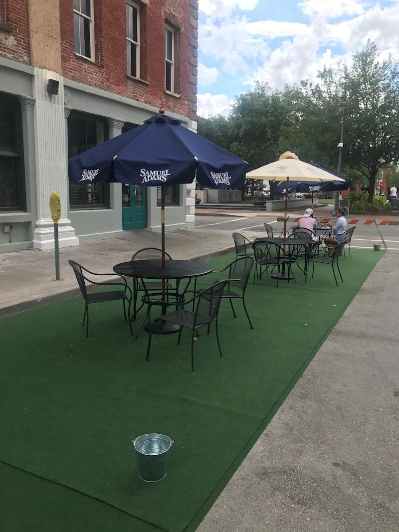 The first restaurant approved for an outdoor dining permit in Savannah, Georgia was Sorry Charlie's Oyster Bar and Cocktails, which is closing down a side street where it's placing six tables from noon until the close of business.