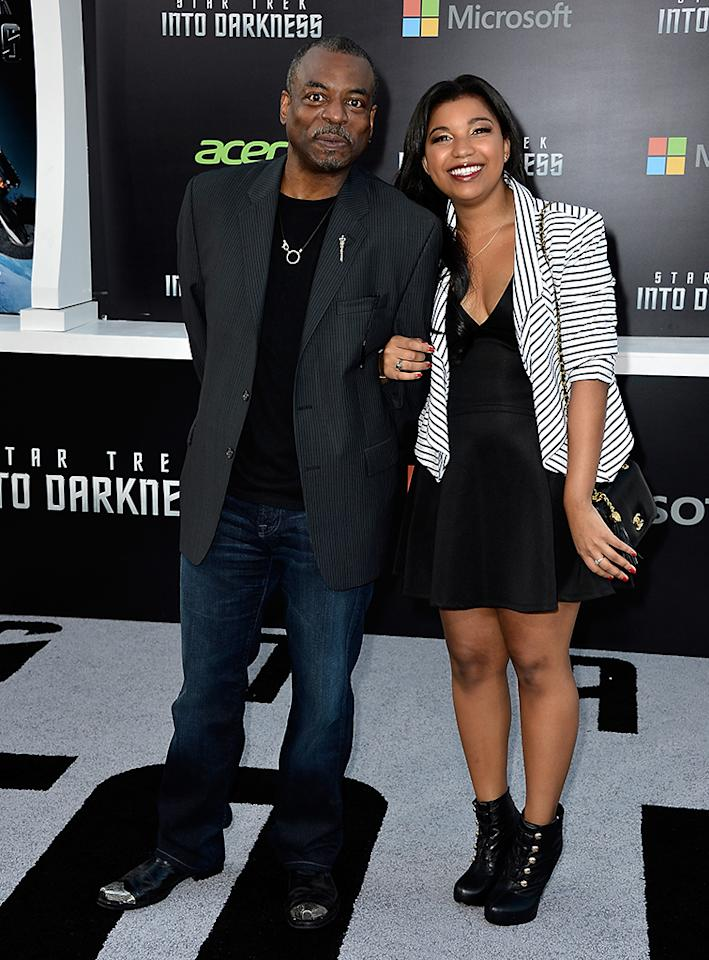 "HOLLYWOOD, CA - MAY 14:  Actor LeVar Burton (L) and Michaela Burton arrive at the premiere of Paramount Pictures' ""Star Trek Into Darkness"" at Dolby Theatre on May 14, 2013 in Hollywood, California.  (Photo by Frazer Harrison/Getty Images)"