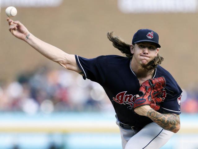 Cleveland Indians' Mike Clevinger pitches to a Detroit Tigers batter during the second inning of a baseball game Saturday, July 28, 2018, in Detroit. (AP Photo/Duane Burleson)