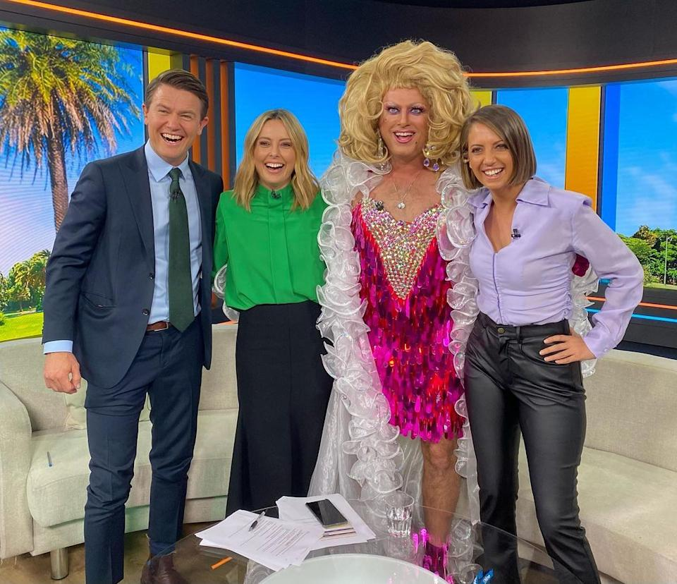 karl Stefanovic on the Today show as a drag queen