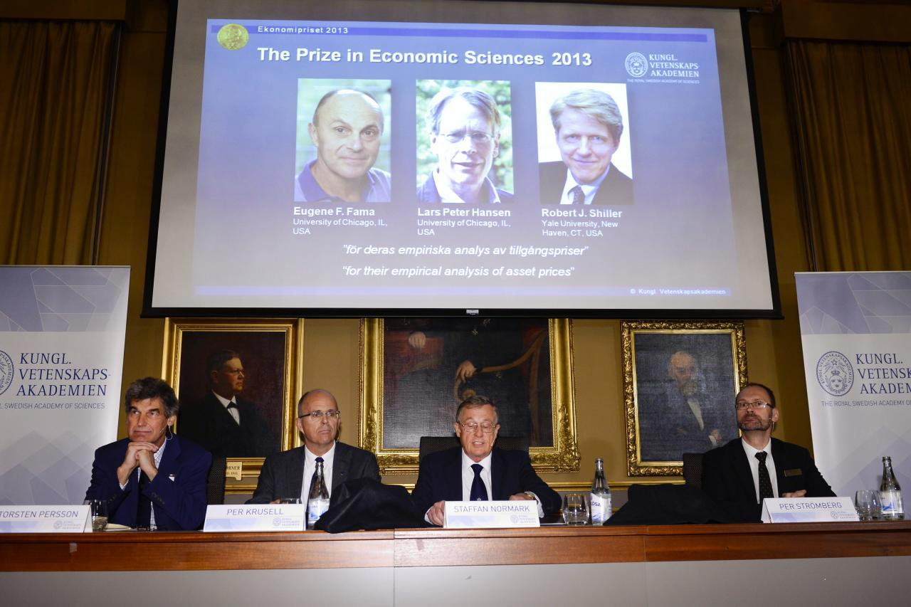 The Royal Swedish Academy of Sciences Torsten Persson, from left, Per Krusell, Staffan Normark and Per Stromberg announce the winners of 2013 Nobel Memorial Prize in Economic Sciences as Eugene Fama, Lars Peter Hansen and Robert Shiller during a press conference at the Royal Swedish Academy of Sciences in Stockholm, Monday Oct. 14, 2013. (AP Photo/TT/Claudio Bresciani) SWEDEN OUT