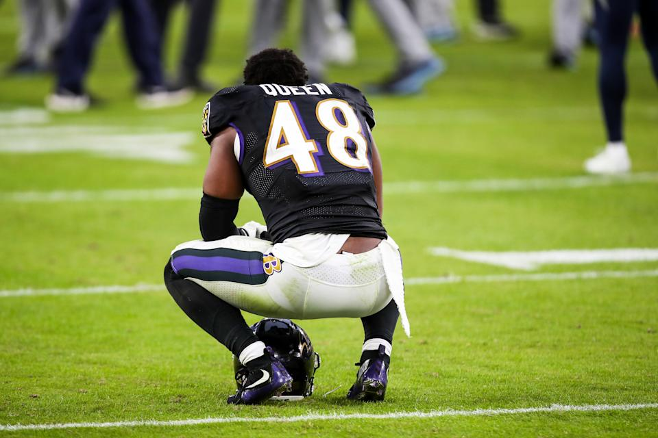 Ravens linebacker Patrick Queen had some ups and downs as a 16-game rookie starter, but his arrow appears pointed upward. (Photo by Nicole Fridling/Icon Sportswire via Getty Images)
