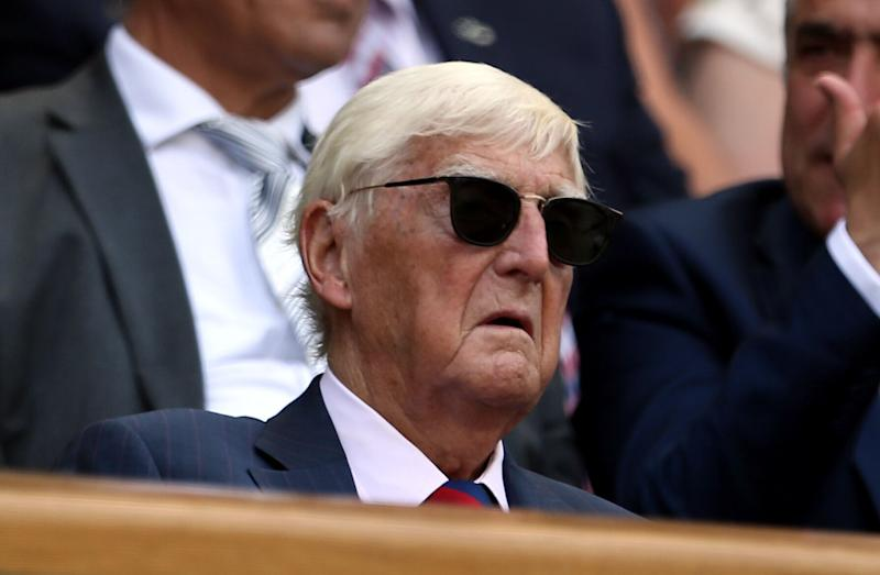 Sir Michael Parkinson in the royal box of centre court on day four of the Wimbledon Championships at The All England Lawn Tennis and Croquet Club, Wimbledon.