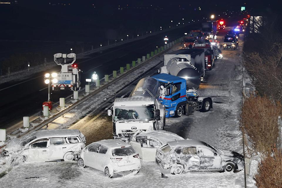 <p>Cars were involved in a series of crashes when a snow storm struck a stretch of highway on the Tohoku Expressway in Osaki, Miyagi prefecture</p> (REUTERS)