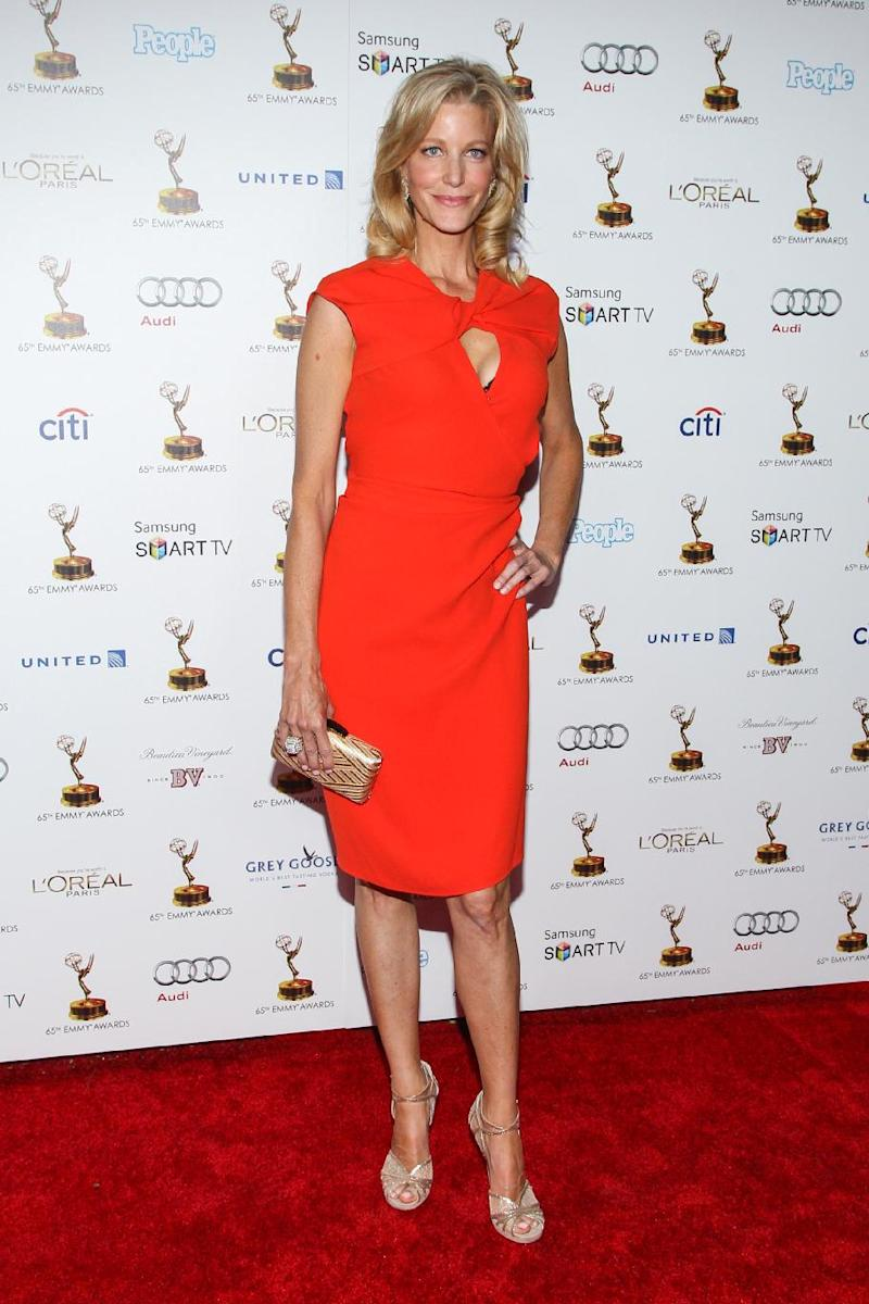Actress Anna Gunn arrives at the 65th Primetime Emmy Awards Performers Nominee Reception at the Pacific Design Center on Friday, Sept. 20, 2013 in Los Angeles. (Photo by Paul A. Hebert/Invision/AP)