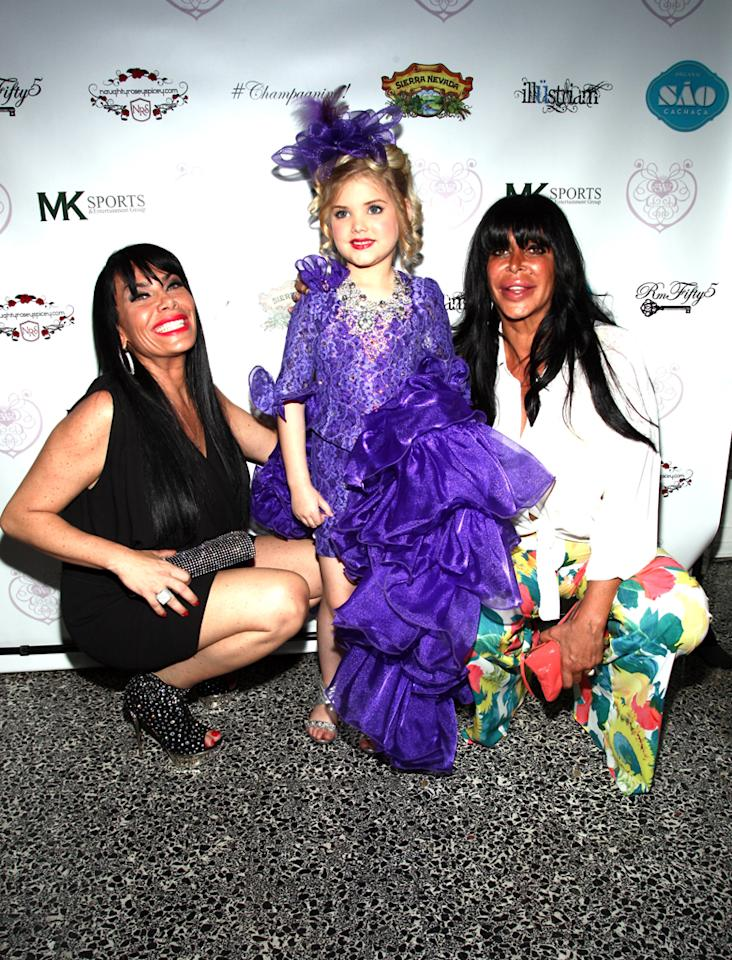 """Renee Graziano, Eden Wood, and Angela """"Big Ang"""" Railoa attend the """"Eden's World"""" premiere party at Room Fifty5 at Dream Midtown on April 16, 2012 in New York City."""