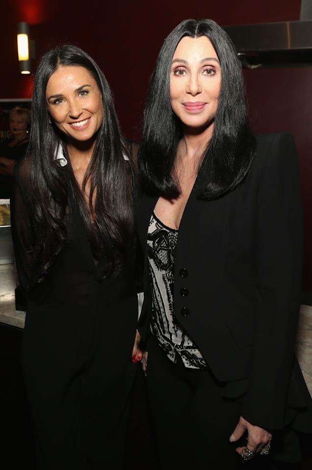 HOLLYWOOD, CA - APRIL 24:  (L-R) Actors Demi Moore and Cher attend Target Presents AFI's Night at the Movies at ArcLight Cinemas on April 24, 2013 in Hollywood, California.  (Photo by Jesse Grant/Getty Images for AFI)