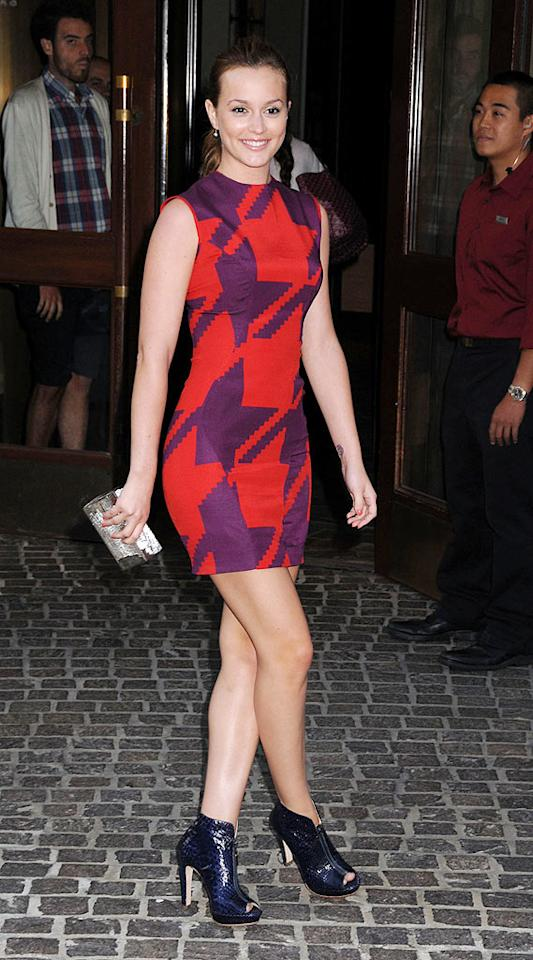 "The mesmerizing Leighton Meester pulled off a daring fashion decision en route to a screening of ""500 Days of Summer"" in NYC. The ""Gossip Girl's"" purple and red houndstooth Emilio de la Morena shift dress and $750 Alexandre Birman python booties were simply stunning. Johns PkI/<a href=""http://www.splashnewsonline.com"" target=""new"">Splash News</a> - July 9, 2009"