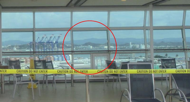 A crime scene is pictured on a cruise ship.