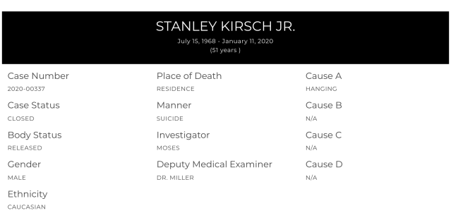 'Highlander' actor Stan Kirsch, 51, died by suicide, according to the Los Angeles County Medical Coroner. (Screenshot: mec.lacounty.gov/)
