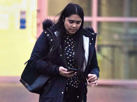 Sneha Chowdhury leaving Woolwich Crown Court in London on 6 January (PA)