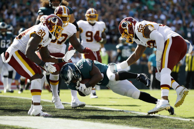 Philadelphia Eagles' Darren Sproles scores a two-point conversion during the second half of an NFL football game against the Washington Redskins, Sunday, Sept. 8, 2019, in Philadelphia. (AP Photo/Matt Rourke)