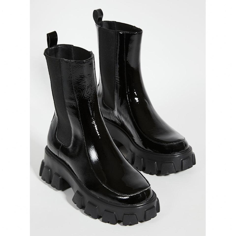 """If you want to make more of a splash, go with this patent leather style that's also great for making a splash in a puddle. $225, Shopbop. <a href=""""https://www.shopbop.com/painter-lug-sole-booties-villa/vp/v=1/1580332068.htm"""" rel=""""nofollow noopener"""" target=""""_blank"""" data-ylk=""""slk:Get it now!"""" class=""""link rapid-noclick-resp"""">Get it now!</a>"""