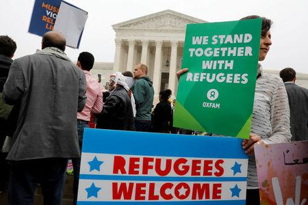 Protesters gather outside the U.S. Supreme Court in Washington