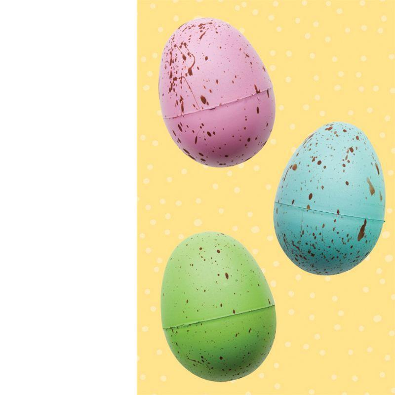 <p>Use a toothbrush to flick watered-down acrylic paint across (dry) spray-painted plastic eggs.</p>