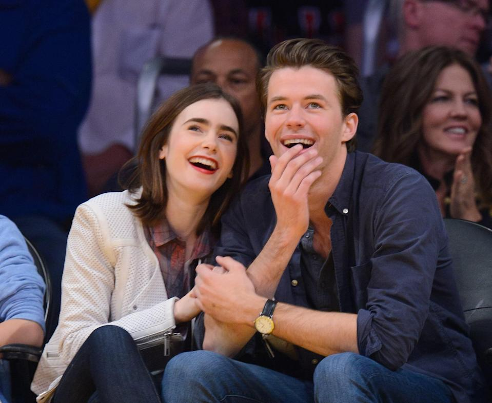 """<p><a href=""""https://www.usmagazine.com/celebrity-news/news/lily-collins-is-dating-australian-actor-thomas-cocquerel-201452/"""" class=""""link rapid-noclick-resp"""" rel=""""nofollow noopener"""" target=""""_blank"""" data-ylk=""""slk:Lily started dating Australian actor Thomas Cocquerel"""">Lily started dating Australian actor Thomas Cocquerel</a> in 2014 after they were <a href=""""https://www.usmagazine.com/celebrity-news/news/dianna-agron-thomas-cocquerel-split-glee-star-actor-break-up-20141212/"""" class=""""link rapid-noclick-resp"""" rel=""""nofollow noopener"""" target=""""_blank"""" data-ylk=""""slk:introduced by a friend."""">introduced by a friend.</a> Soon after they split, Lily got back together with Jamie, and <a href=""""https://www.usmagazine.com/celebrity-news/news/dianna-agron-thomas-cocquerel-split-glee-star-actor-break-up-20141212/"""" class=""""link rapid-noclick-resp"""" rel=""""nofollow noopener"""" target=""""_blank"""" data-ylk=""""slk:Thomas went on to date Glee star Dianna Agron"""">Thomas went on to date <strong>Glee</strong> star Dianna Agron</a>.</p>"""