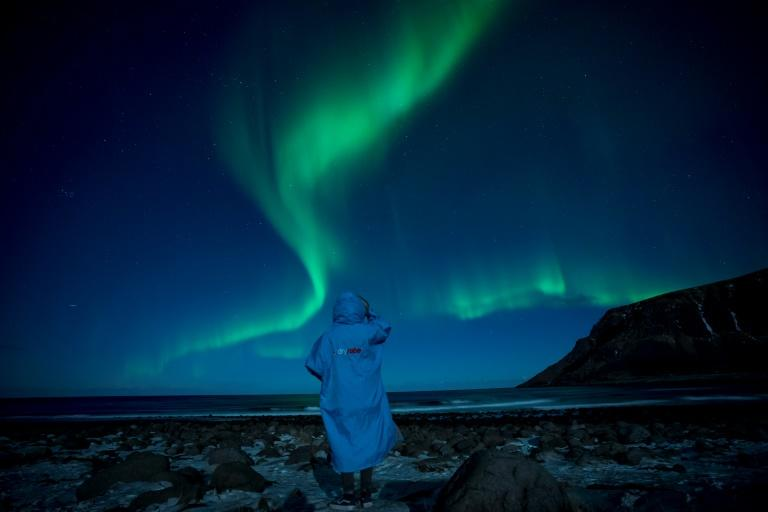 The Northern Lights (Aurora borealis) above the Arctic Circle in northern Norway