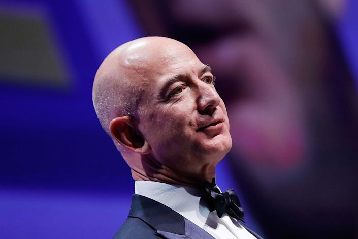 Honoree Jeff Bezos speaks at the 21st Annual HRC National Dinner at the Washington Convention Center on Oct. 28, 2017 in Washington D.C.