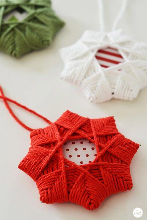 """<p>Spare some of your knitting yarn to make these super cute star ornaments. They look hard, but they're really not!</p><p>Get the tutorial at <a href=""""http://www.livecrafteat.com/craft/homemade-christmas-tree-star-ornaments/"""" rel=""""nofollow noopener"""" target=""""_blank"""" data-ylk=""""slk:Live Craft Eat"""" class=""""link rapid-noclick-resp"""">Live Craft Eat</a>.</p>"""