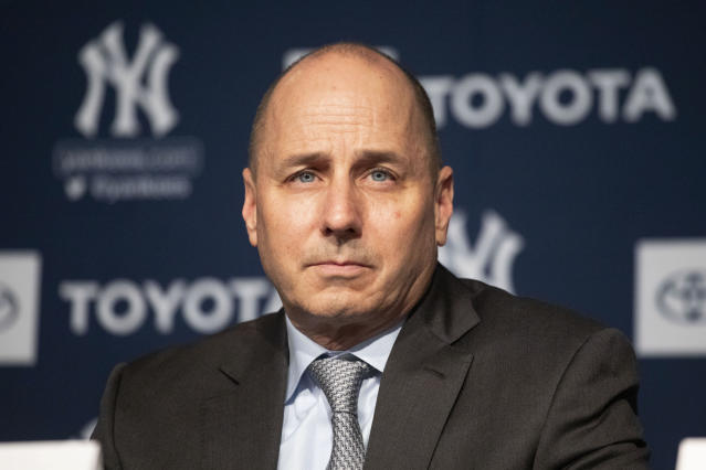 "FILE - In this Dec. 18, 2019 file photo, New York Yankees general manager Brian Cashman attends a news conference in New York. Cashman had suspected that the Houston Astros had been breaking rules against electronic sign stealing long before Commissioner Rob Manfred released his report in January that resulted in three big league managers losing their jobs. ""I'll acknowlege at that we had many a conversion with Major League Baseball the last number of years about suspicions, but having suspicions and being able to prove it are two different things,"" Cashman said Friday, Feb. 14, 2020. (AP Photo/Mark Lennihan, File)"