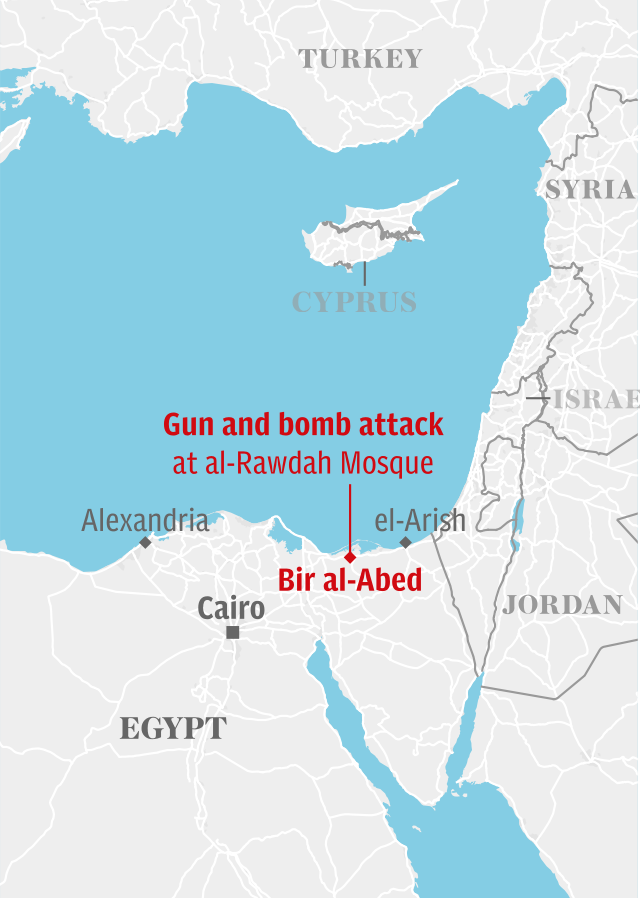 Map: Egypt mosque attack