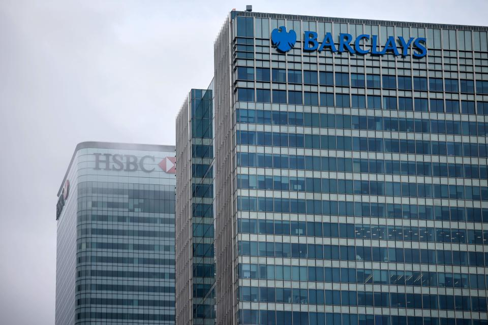 HSBC and Barclays HQ in Canary Wharf, London. Photo: Tolga Akmen/AFP via Getty Images