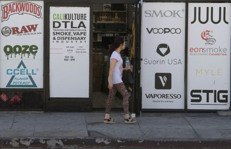 This Los Angeles vaping store advertises the main brands offered by the e-cigarette industry (AFP Photo/Mark RALSTON)